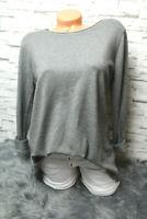 Italy Strick Pulli Shirt Pullover Gr. 36 38 40 42 grau edel blogger weich Rücken