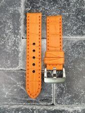 New BIG CROCO 24mm LEATHER STRAP watch Band Orange with Orange Stitch Navitimer