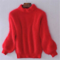 Lady Winter Fluffy Plush Jumper Angora Cashmere Blend Loose Warm Sweater