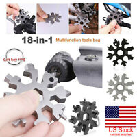 18 In 1 Stainless Tool Snowflake Shape Key Chain Screwdriver Portable Multi Tool
