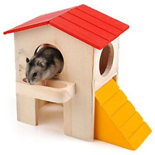 New listing Wooden House Villa Cage Exercise Toy Hamster Hedgehog Mouse Guinea Pig Small Pet