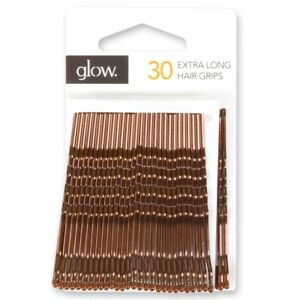 30x EXTRA LONG KIRBY GRIPS Hair Slides Bobby Bun Pins Waved Clips Clamps Brown