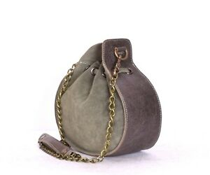 Leather Drawstring Bucket Bag Leather Purse With Chain Strap Sling Bag for Women