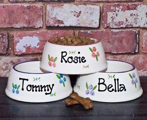 medium slanted dog bowl hand painted personalised ceramic dog feeder dog dish