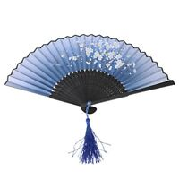Linen Fan Pattern Butterflies Flowers Gift Decoration for Wedding - Blue U2H4