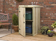 Recycle Box Wooden Screen Storage Chest FSC Timber Handmade in UK