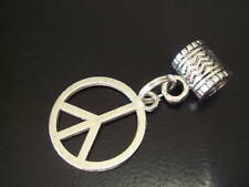 Large hole silver peace sign charm Kumihimo or leather Tibetan style
