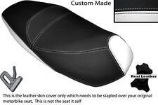 BLACK & WHITE CUSTOM FITS PIAGGIO CARNABY 125 DUAL LEATHER SEAT COVER
