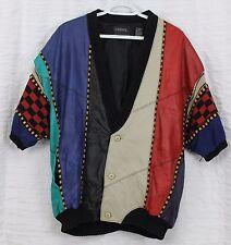 VTG 90s Saxony Leather Jacket Lg Sweater Mens Short Sleeve Multi Color Stripe