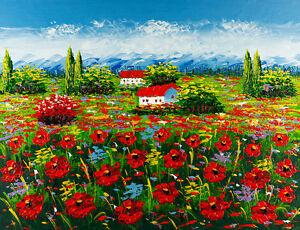 Tuscan Field Landscape A1+ High Quality Canvas Print