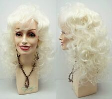 """Platinum Blonde Curly Wig Dolly Parton Long Bangs Synthetic Theater Drag 18"""""""
