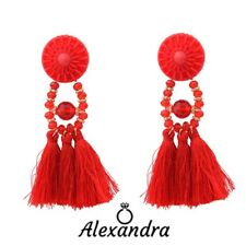 Pendientes Largos con rosetón flecos gota mujer borla boho woman earrings gift