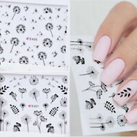 2 Sheets 3D Nail Sticker Dandelion Flower Adhesive Nail Art Transfer Decals NEW