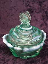 Fenton Green Rose Shaped covered dish with butterfly handle
