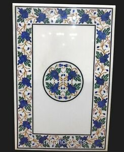 24 x 36 Inches Beautiful Design Inlay Patio Table Top White Marble Coffee Table