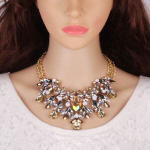 BRAND NEW BEAUTIFUL ZARA DESIGN CLEAR CRYSTAL & GOLD CLUSTER STONES NECKLACE
