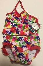 Toddler Girls Tankini Bathing Suit 24M Hello Kitty Floral  NWT Cruise Swimsuit