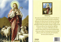 """Greeting Card with """" PSALM 23 verse """" showing Jesus Holding a Lamb & Lambs"""