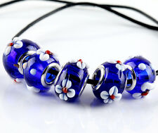5pcs PLATED SILVER MURANO GLASS BEAD Fit European Charm Bracelet