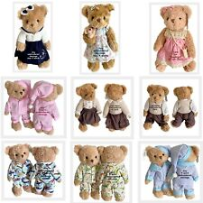 More details for personalised jointed teddy bear baby's 1st birthday flower girl christening gift
