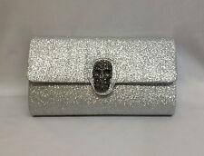 Gold Silver Glitter Evening Bag Prom Skull Clutch Handbag Purse Envelope New