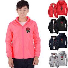 Fashion Unisex Men Women Rose Windbreaker Jackets Coat Full Zip Water/ Windproof
