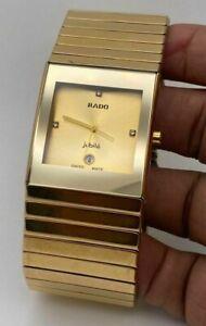 Vintage Used Rado Jubile 36 MM Quartz Ceramics Gold Plated Men's Wrist Watch