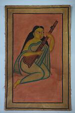 India Vintage Kalighat Painting GIRL playing MUSIC - BM003