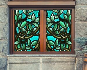3D Green Leaf I15 Window Film Print Sticker Cling Stained Glass UV Block Ang
