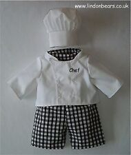 CHEF 4 PIECE OUFIT - FITS TEDDY BEARS 16 INCH / 40cm TALL - MADE IN ENGLAND