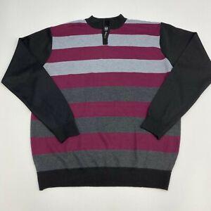 Studio Quarter Zip Sweater Mens 3XL Maroon Gray Stripe Long Sleeve Casual