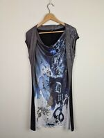 Gabriella Frattini Cowl Neck Shift Dress Women's Size 12 Water Splash Graphics
