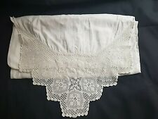 More details for vintage/antique pair of white pillowcases with deep lace edge