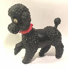 Vtg Soft Plastic Black French Poodle Squeak Toy w Red Collar Googlie Eyes ITALY