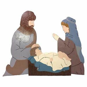 Handmade Wood Mary Joseph Baby Jesus Nativity Scene