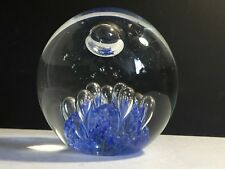 MURANO STUDIO CLEAR & BLUE ELONGATED CONTROLLED BUBBLES ART GLASS PAPERWEIGHT