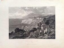 LAKE And CITY' NEMI Rome Lazio Landscape etching original 1832 Harding
