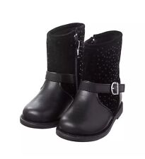New Gymboree Girls Dot Moto Boots Size 7 Zip Up Buckle Accent