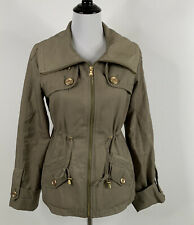 Guess Los Angeles Military Style Jacket Size Small Green Lined Zip Front