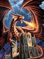 Full drill Diamond Painting Fire Dragon Lightning Castle Fashion Handicraft 6204
