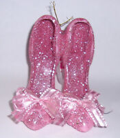 """Christmas ornament pair 3"""" pink glitter high heel shoes with pink ribbon bow"""