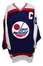 Custom Name # Winnipeg Jets Retro Hockey Jersey Navy Blue Hawerchuk Any Size