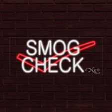 "Brand New ""Smog Check"" w/Logo 32x13X1 Inch Led Flex Indoor Sign 30126"