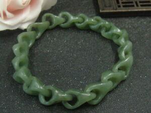 Chinese Antique Nephrite Hetian GREEN  Jade Concentric lock Bracelet