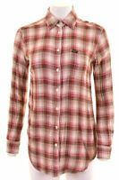 LEE Womens Shirt Size 10 Small Multi Check Cotton Loose Fit  N201