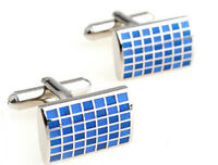 Silver & Blue Enamel Check Mens Rectangle Gift Cuff links by CUFFLINKS DIRECT