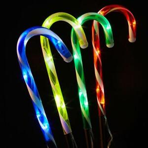 4Pack Christmas Candy Cane Pathway Lights LED Outdoor Garden Decoration HOT