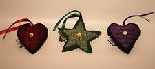 Handmade Harris Tweed Heart or Star Bag Charms, Christmas Tree /House Decoration