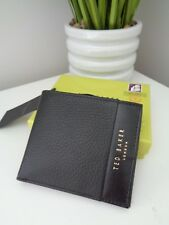 BN TED BAKER Crater Black Soft Leather Bi Fold Wallet