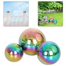 3Pcs Stainless Steel Garden Balls Rainbow Mirror Polished Gazing Globe